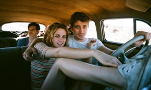 "Sam Riley, Kristen Stewart y Garrett Hedlund en ""On The Road""."