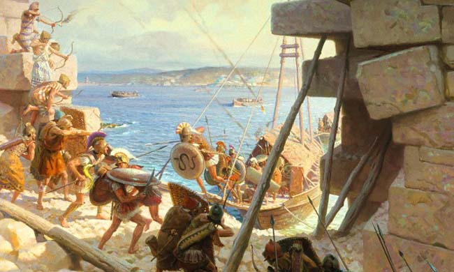 """Macedonios atacando Tiro"" por Tom Lovell."