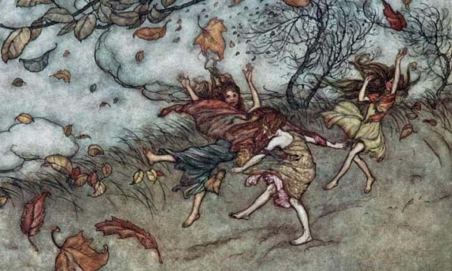 Arthur Rackham ~ There is Almost Nothing That has Such a Keen Sense of Fun ~ 1906, Ilustracion para Peter Pan en Kensington Gardens por J. M. Barrie.